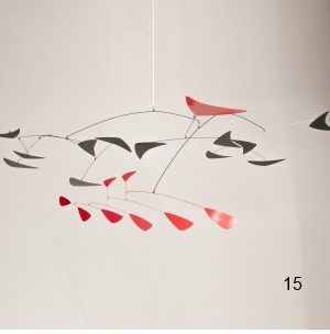 black red hanging mobile art mid-century modern