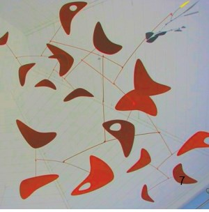 red boomerang mid-century modern hanging mobile art