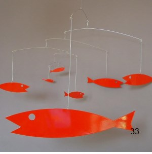 red fish hanging mobile art sculpture