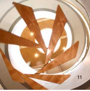 wood hanging mobile art large lobby staircase sculpture