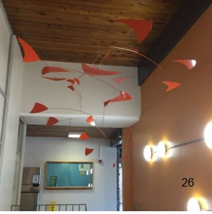 large orange mid-century modern hanging mobile art
